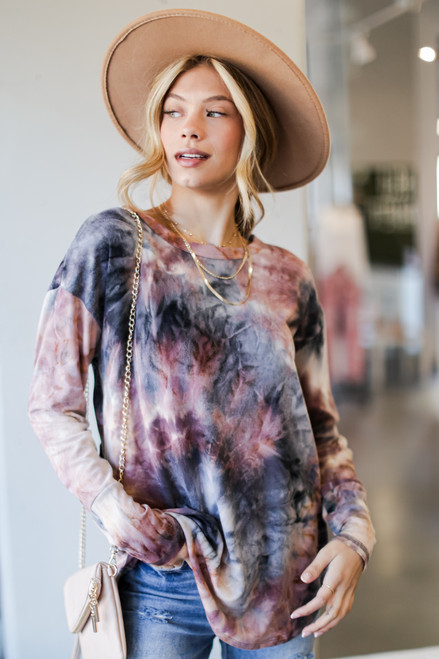 Blush - Oversized Tie-Dye Cutout Top