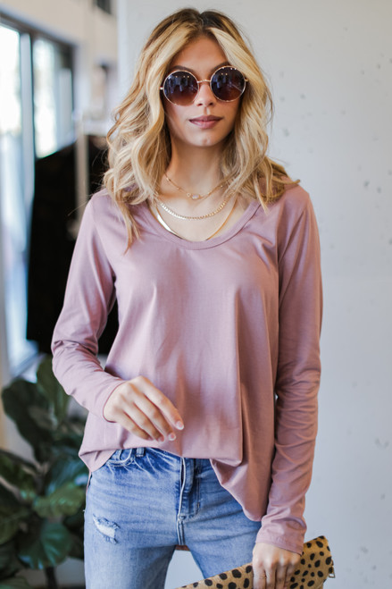 Mauve - Basic Oversized Knit Top
