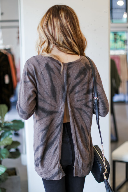 Mocha - Tie-Dye Open Back Knit Top from Dress Up