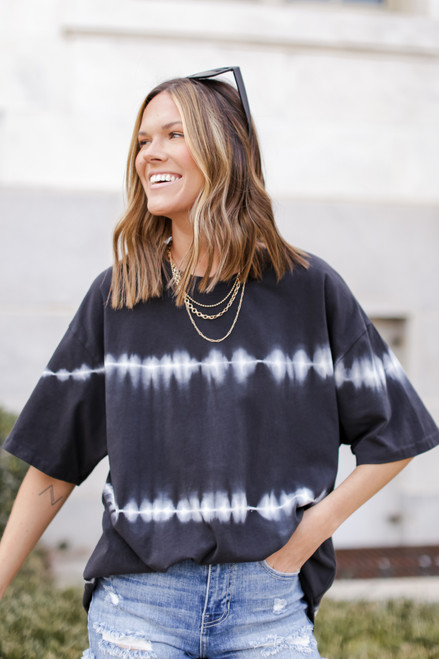 Black - Oversized Tie-Dye Boyfriend Tee from Dress Up