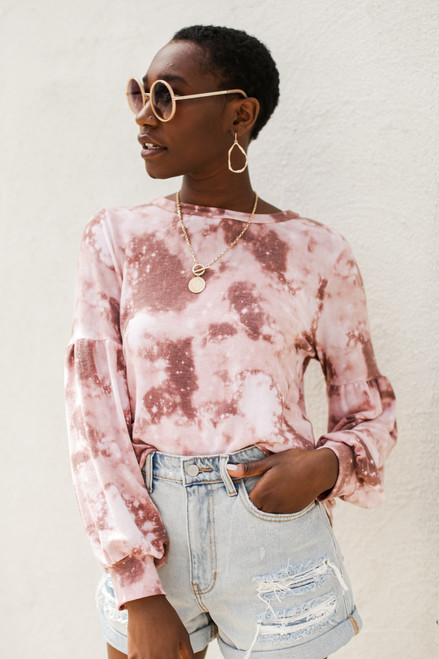 Mauve - Balloon Sleeve Tie-Dye Top