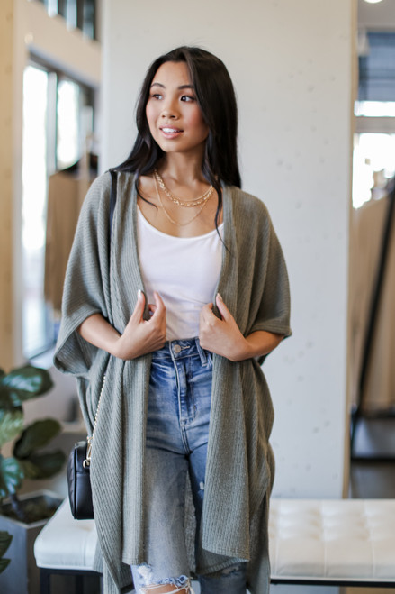 Olive - Ribbed Knit Cardigan