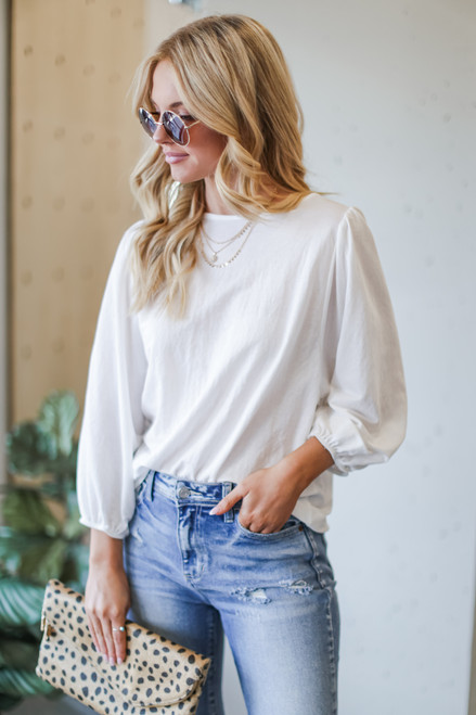 White - Puff Sleeve Blouse
