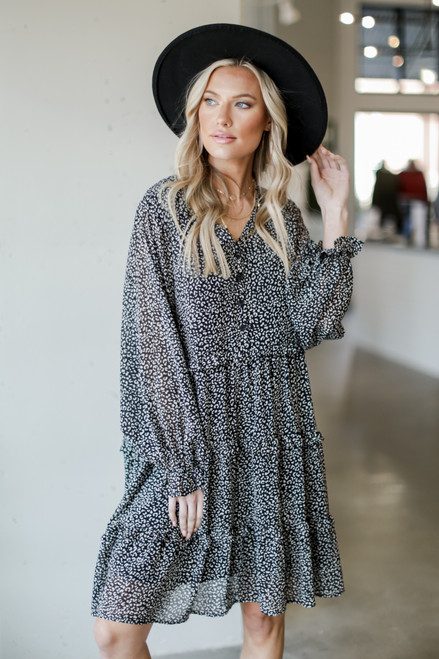 Black - Tiered Leopard Dress