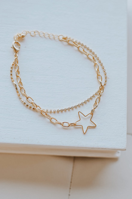 Gold - Star + Rhinestone Layered Bracelet