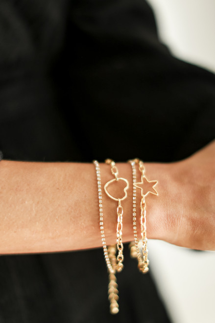 Gold - Star + Rhinestone Layered Bracelet from Dress Up