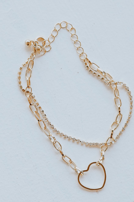 Gold - Heart + Rhinestone Layered Bracelet
