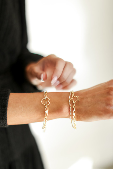 Gold - Heart + Rhinestone Layered Bracelet from Dress Up