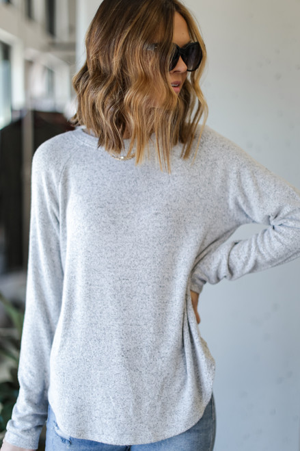 Heather Grey - Model wearing a Light Knit Pullover