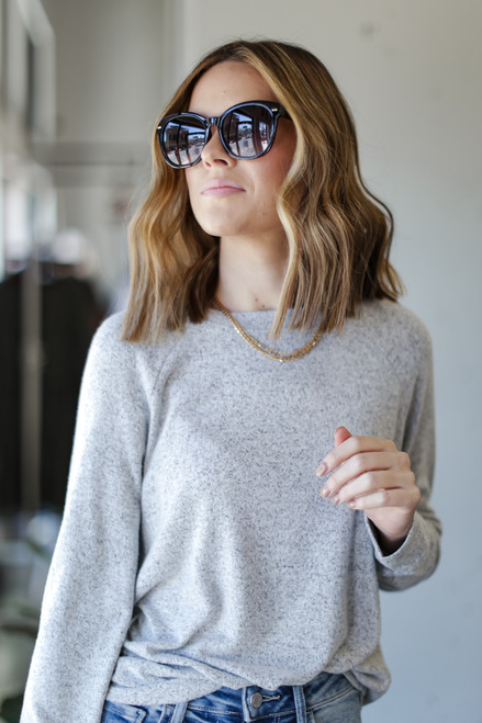Heather Grey - Dress Up model wearing a Light Knit Pullover