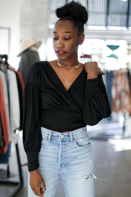 Black - Cropped Surplice Blouse