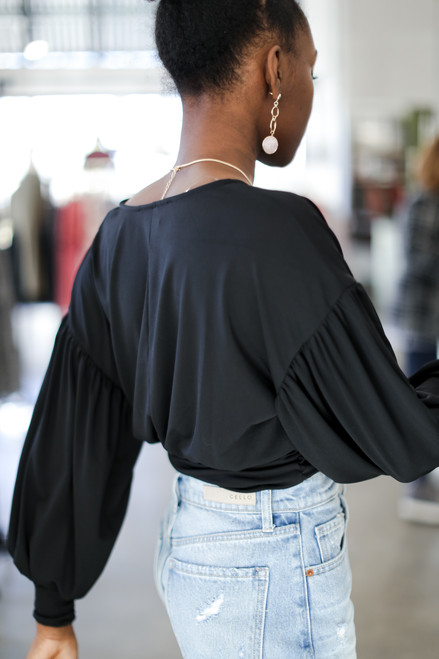 Black - Cropped Surplice Blouse from Dress Up