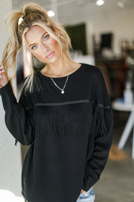 Black - Dress Up model wearing a Fringe Pullover with jeans