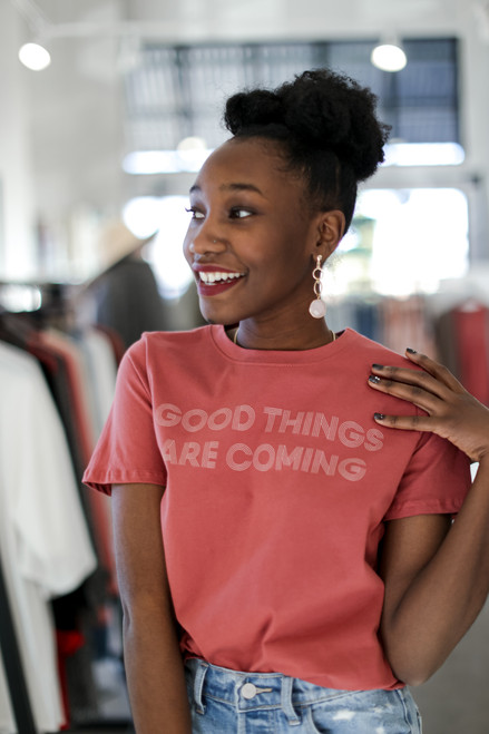 Marsala - Good Things Are Coming Graphic Tee from Dress Up