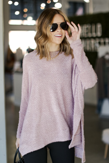 Lavender - Oversized Fuzzy Knit Top