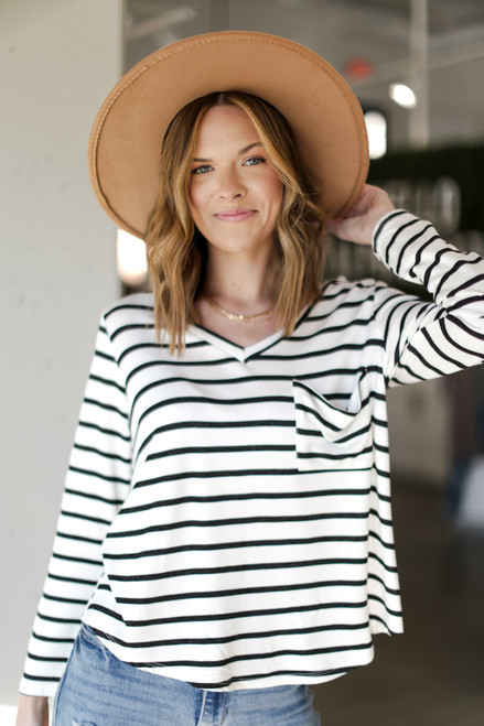 Ivory - Oversized Striped Top