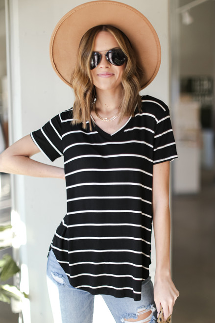 Black - Striped Tee