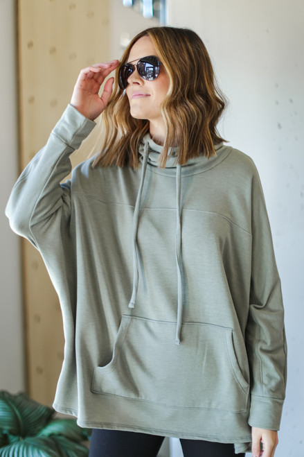 Sage - Oversized Cowl Neck Pullover