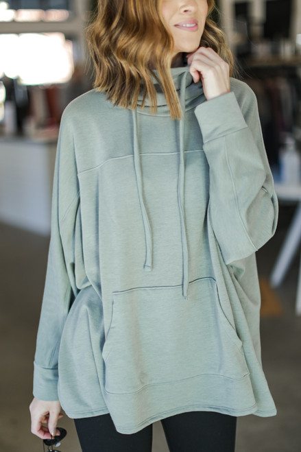 Sage - Oversized Cowl Neck Pullover from Dress Up
