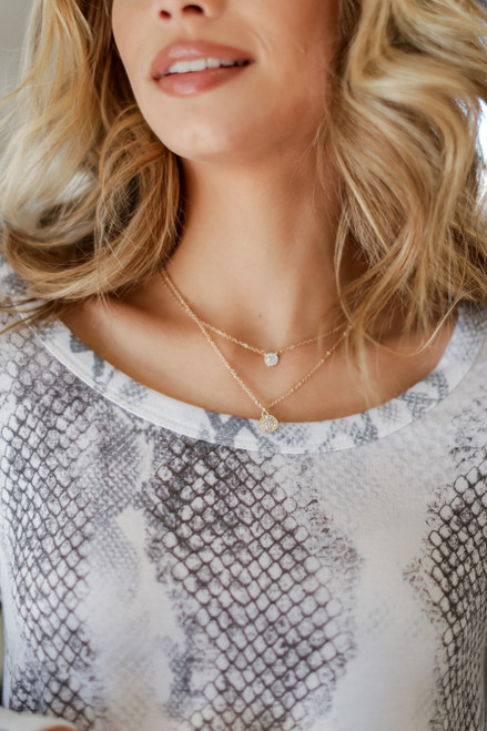 Gold - Rhinestone Layered Necklace