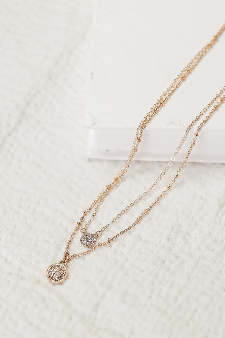 Gold - Rhinestone Layered Necklace from Dress Up