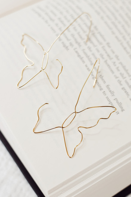 Gold - Butterfly Drop Earrings from Dress Up