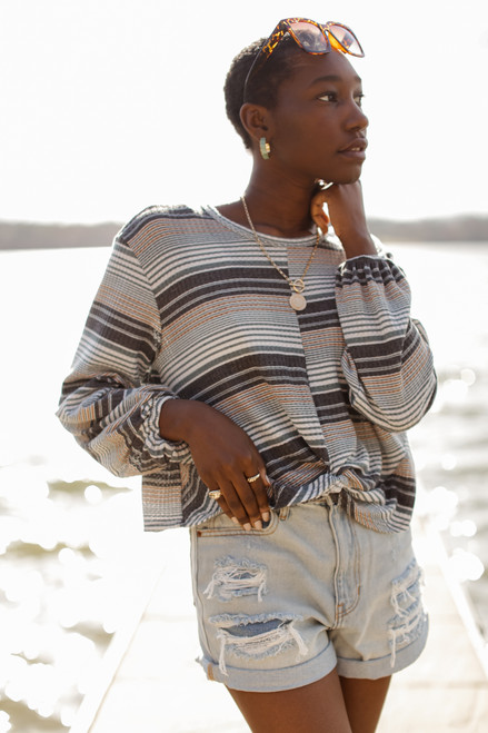 Grey - Striped Waffle Knit Top