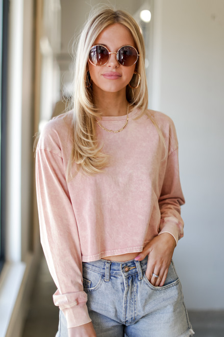 Blush - Acid Washed Cropped Tee