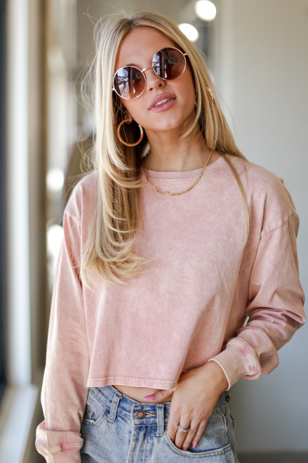 Blush - Acid Washed Cropped Tee from Dress Up