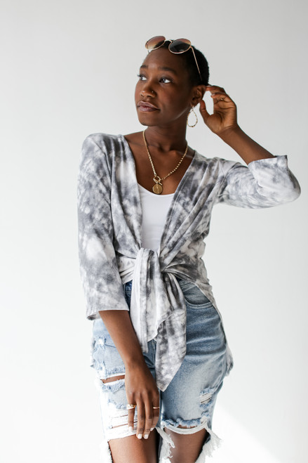 Grey - Model wearing a Tie-Dye Cardigan