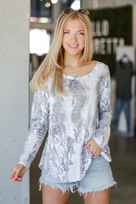 Grey - Oversized Snakeskin Top