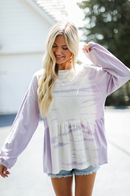 Lavender - Tie-Dye Babydoll Pullover from Dress Up
