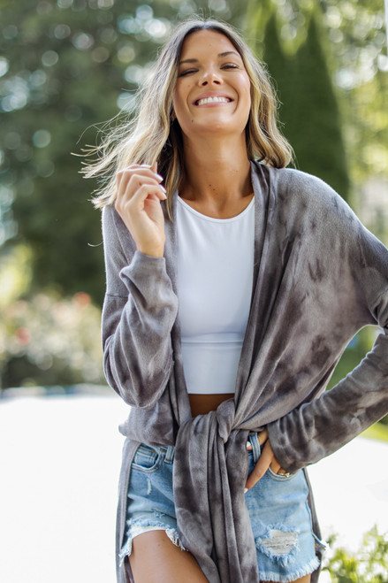 Charcoal - Tie-Dye Duster Cardigan from Dress Up