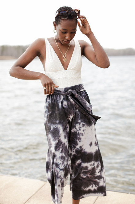 Charcoal - Tie-Dye Wide Leg Pants from Dress Up