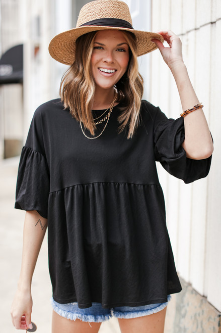 Black - Puff Sleeve Babydoll Top