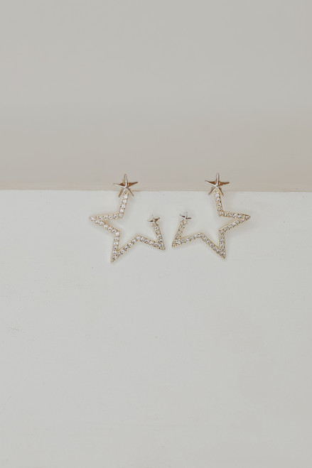 Gold - Rhinestone Star Earrings from Dress Up