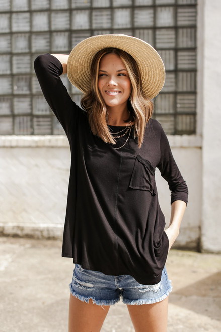 Black - Oversized Front Pocket Tee from Dress Up