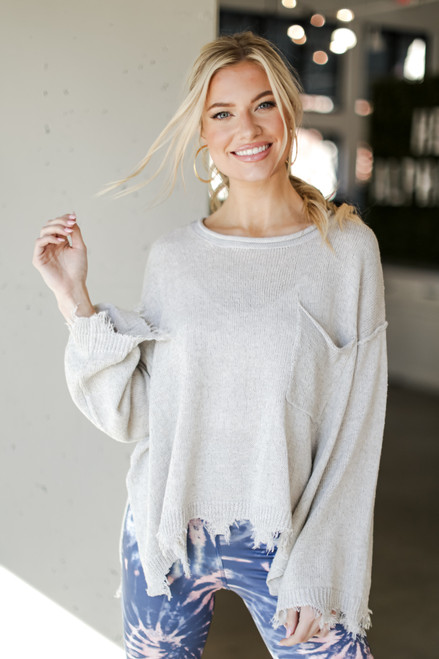 Light Grey - Oversized Distressed Sweater