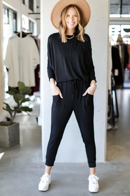 Black - Drawstring Jumpsuit