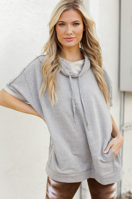 Heather Grey - Oversized Cowl Neck Pullover