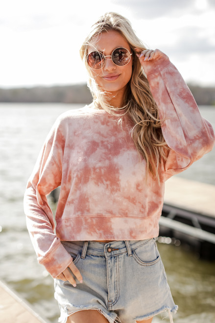 Blush - Tie-Dye Cropped Pullover