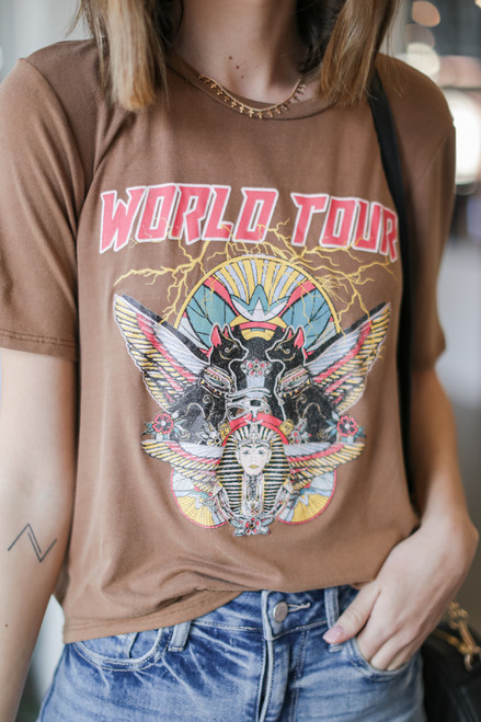 Brown - World Tour Vintage Graphic Tee from Dress Up