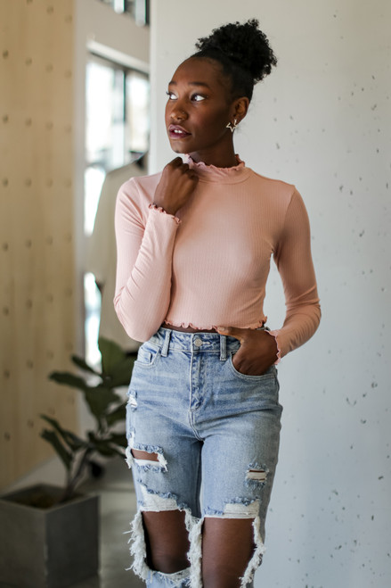 Blush - Mock Neck Crop Top