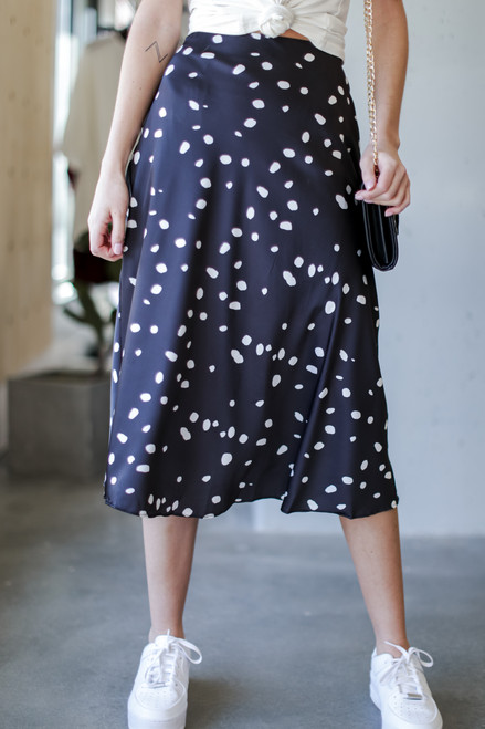 Black - Spotted Midi Skirt from Dress Up