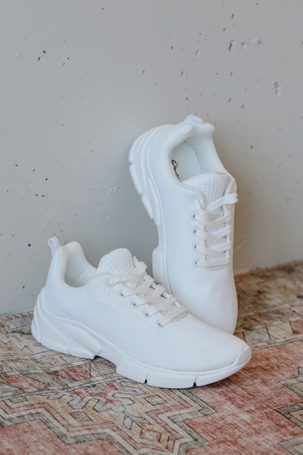 White - Knit Sneakers Side View