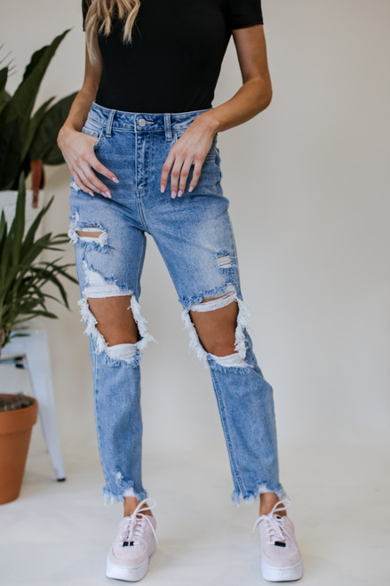 Light Wash - Distressed Stretch Boyfriend Jeans