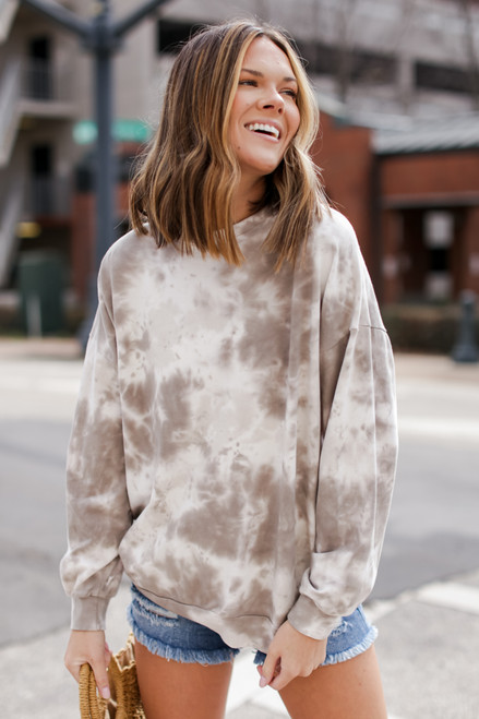 Olive - Oversized Tie-Dye Pullover