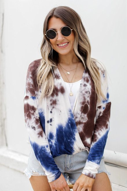Brown - Tie-Dye Surplice Top