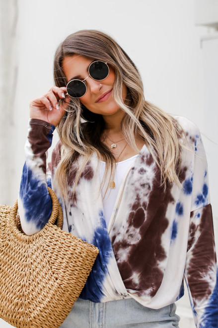 Brown - Tie-Dye Surplice Top from Dress Up
