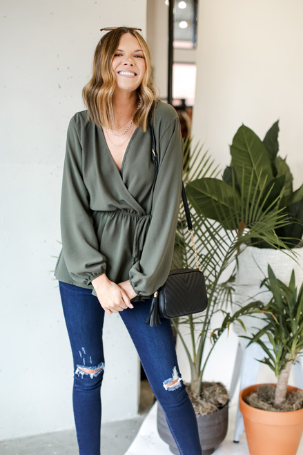 Olive - Surplice Peplum Blouse from Dress Up